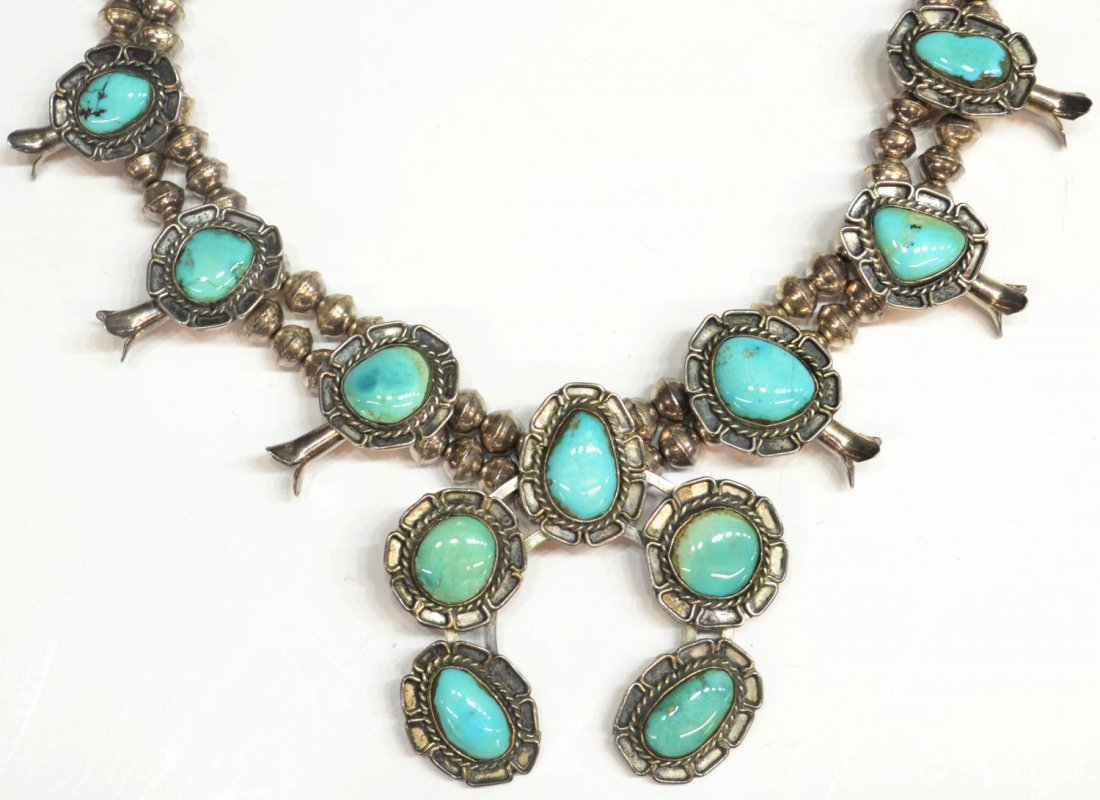14: NAVAJO SILVER & TURQUOISE SQUASH BLOSSOM NECKLACE