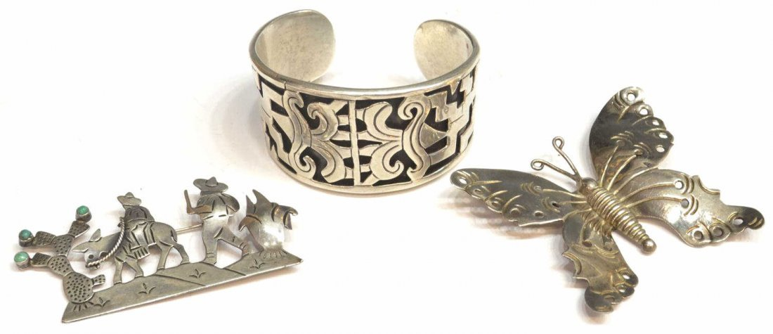 16: VINTAGE MEXICAN STERLING SILVER JEWELRY GROUP