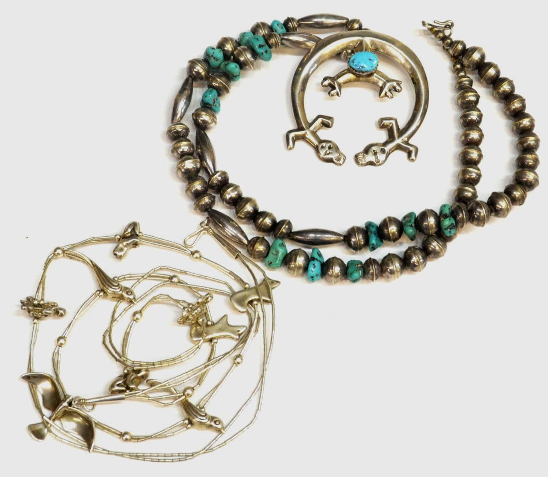 17: NATIVE AMERICAN SILVER TURQUOISE FIGURAL NECKLACE