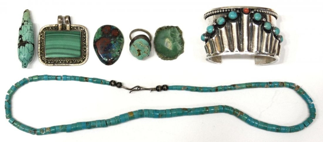 18: COLLECTION SOUTHWEST SILVER & TURQUOISE JEWELRY