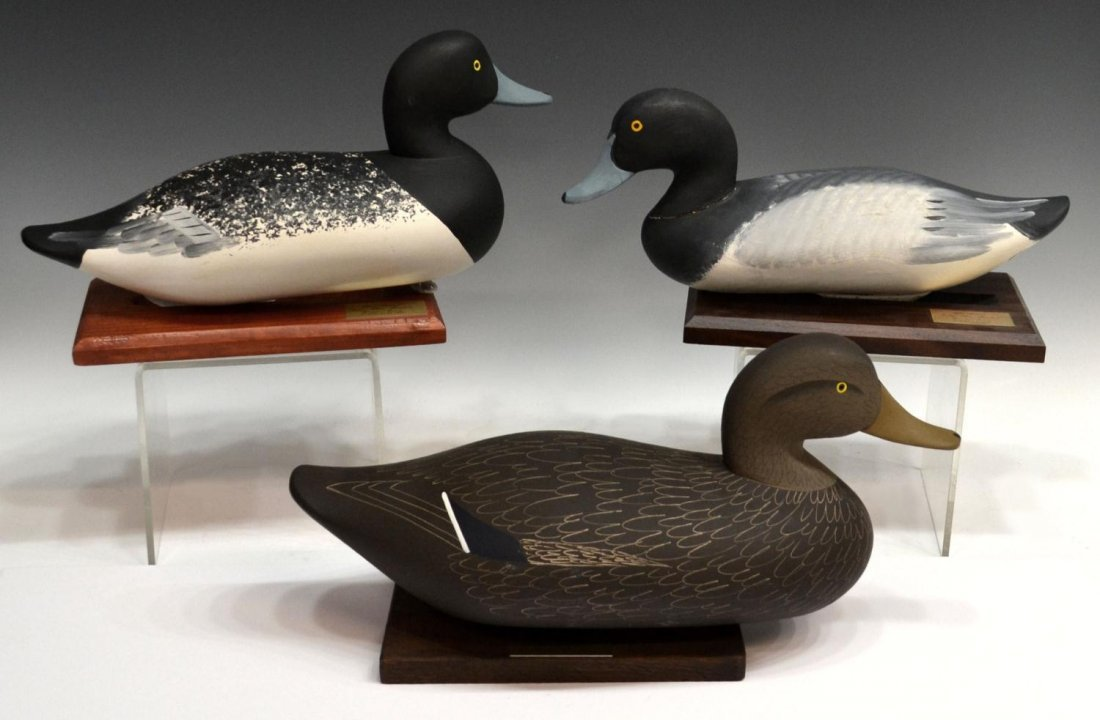 149: (3) SIGNED POLYCHROMED CARVED WOOD DUCK DECOYS