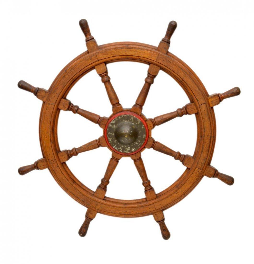 150: ANTIQUE OAK SHIPS WHEEL