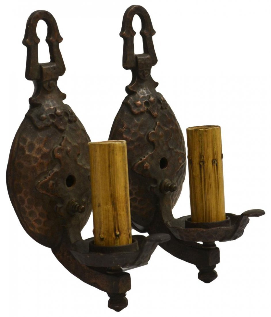 154: (2) HAMMERED COPPER FINISH IRON WALL SCONCES