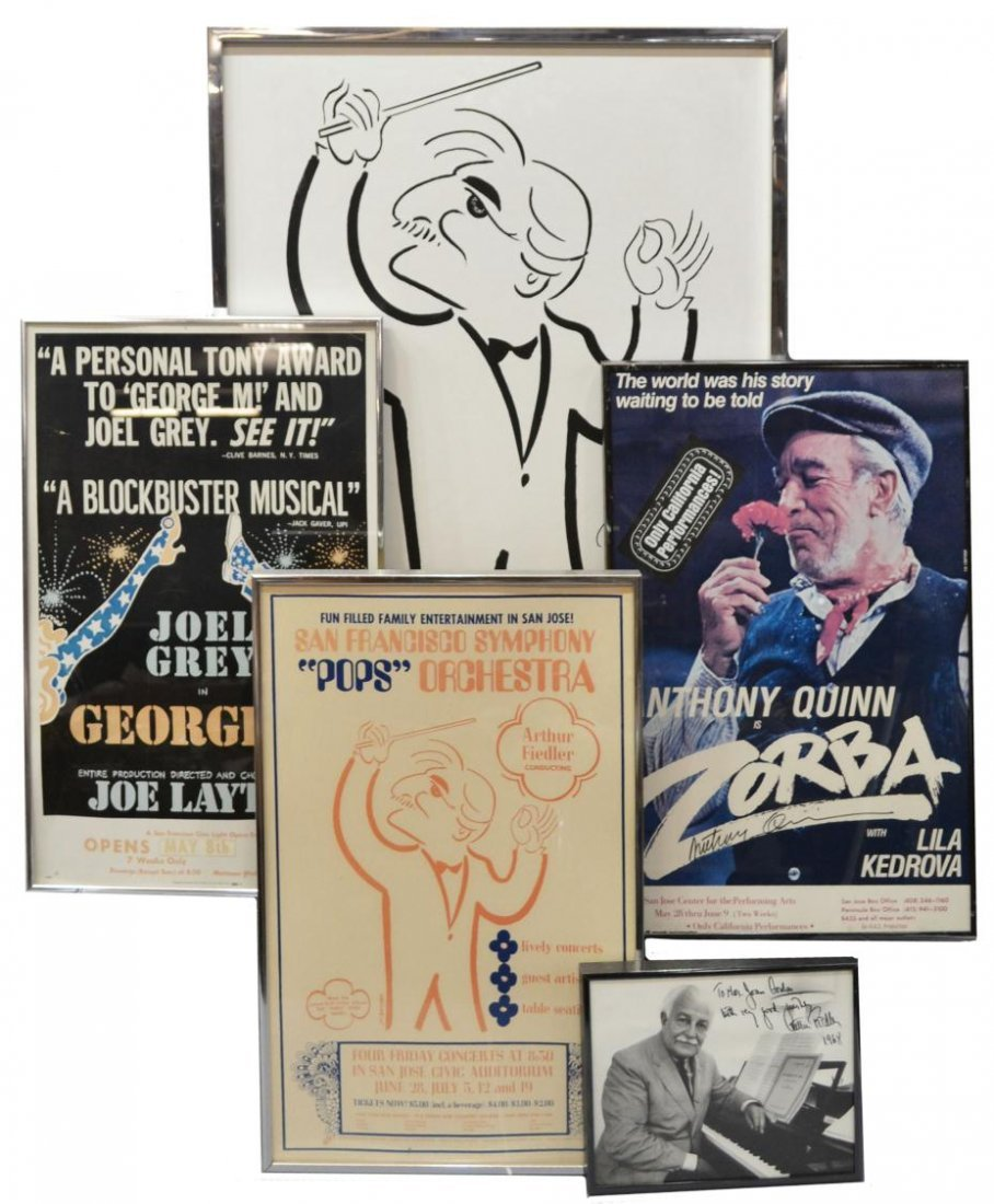166: ARTHUR FIEDLER, ANTHONY QUINN SIGNED POSTERS,PHOTO