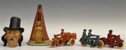 183: (5) CAST IRON MOTORCYCLES, BANK, BOTTLE OPENER