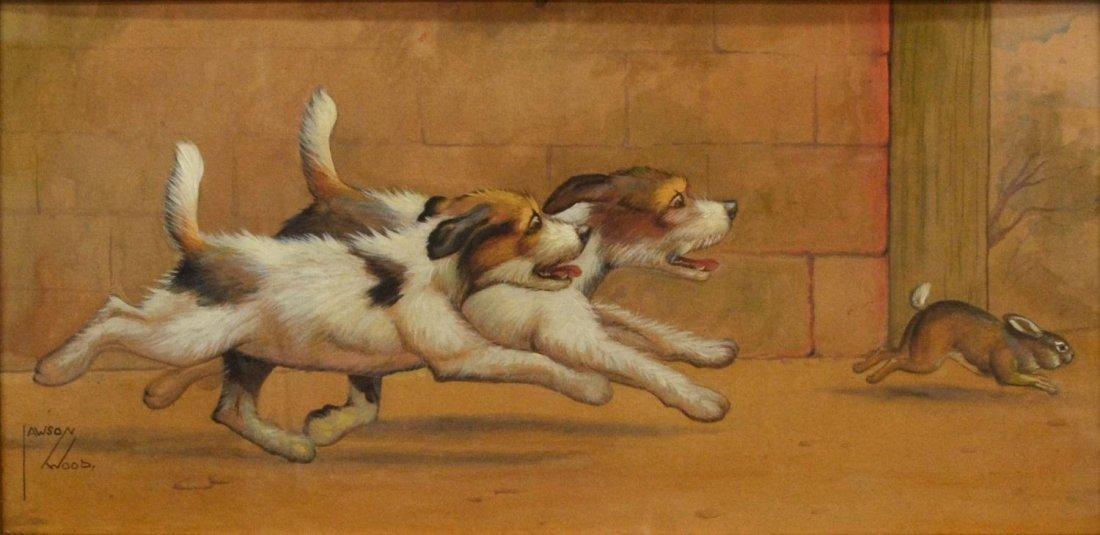 211: PAINTING, DOGS & RABBIT, LAWSON WOOD (1878-1957)