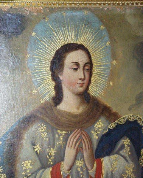 379: ANTIQUE RELIGIOUS OIL PAINTING MEXICO