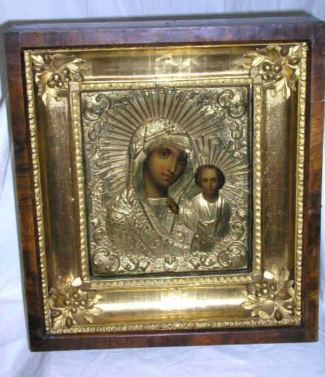 422: ANTIQUE RUSSIAN ICON KAZAN MOTHER OF GOD