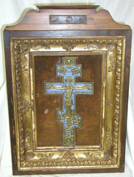 423: ANTIQUE RUSSIAN RELIGIOUS ICON CRUCIFIX