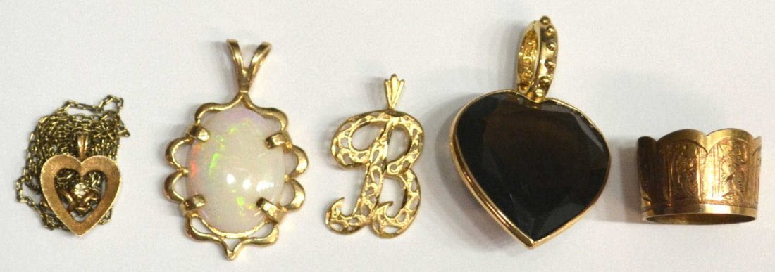 407: 14KT GOLD MINIATURE CROWN & 14KT JEWELRY GROUP