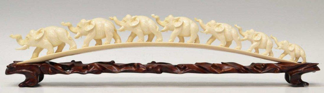 416: CHINESE CARVED IVORY BRIDGE, ELEPHANT PROCESSION