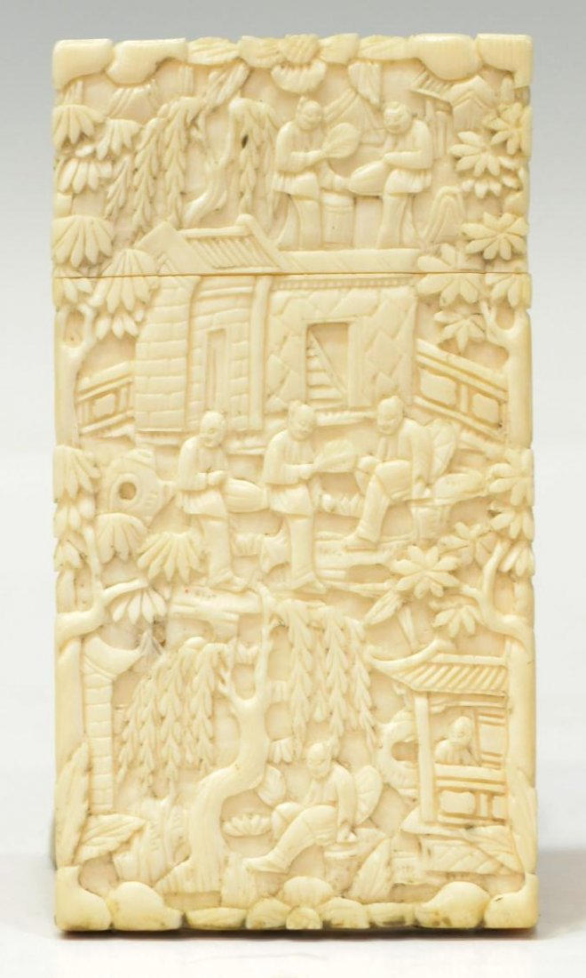 419: CHINESE IVORY CARD CASE, QING DYNASTY