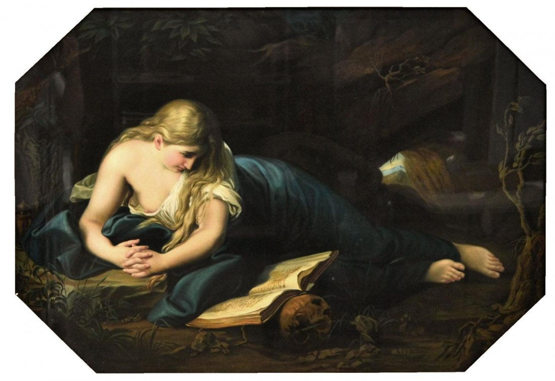 421: LARGE RESTORED PRINT, MARY MAGDALENE IN THE CAVE