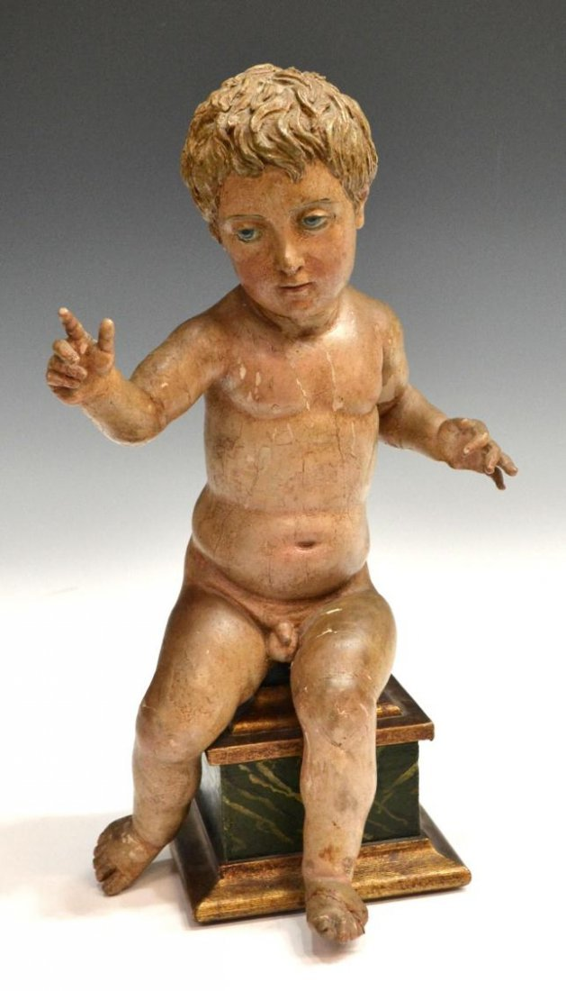 422: ANTIQUE RELIGIOUS CARVED WOOD CHRIST CHILD, SPAIN