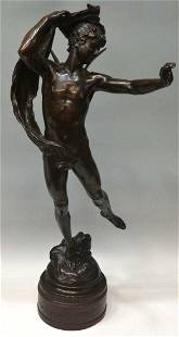 510: FRENCH BRONZE, WINGED MALE NUDE, EUGUENE MARIOTON