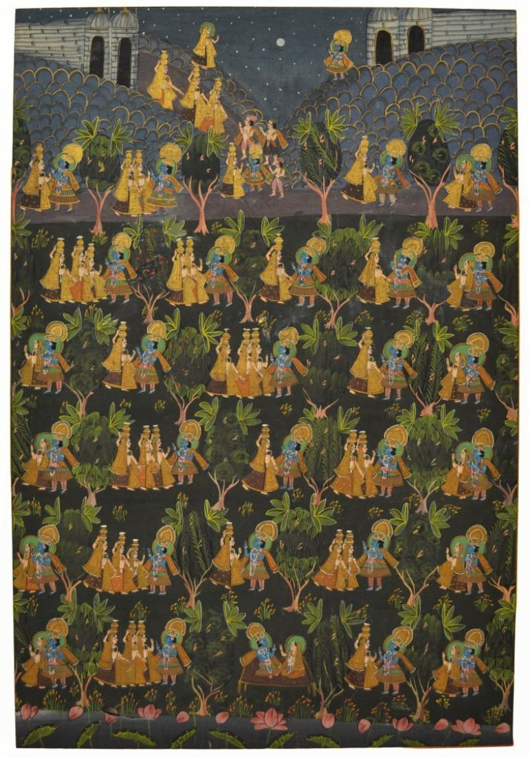 724: FRAMED PAINTING ON FABRIC, HINDU DEITIES, INDIA