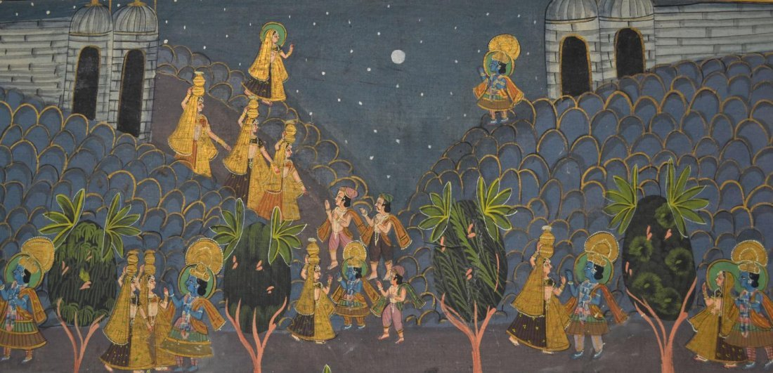 724: FRAMED PAINTING ON FABRIC, HINDU DEITIES, INDIA - 2