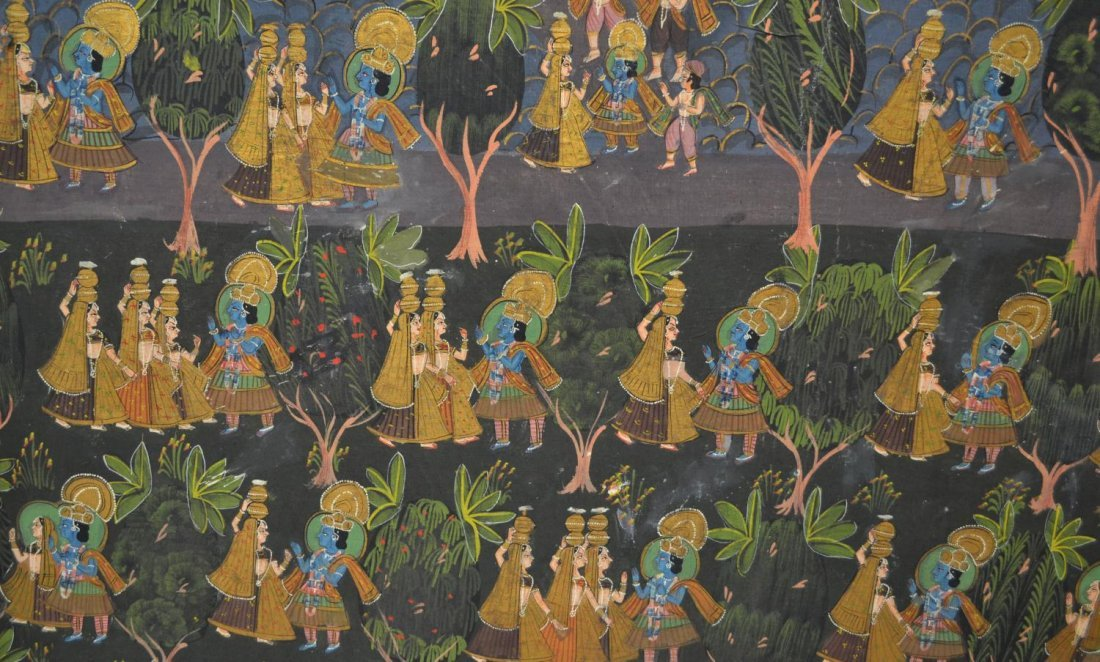 724: FRAMED PAINTING ON FABRIC, HINDU DEITIES, INDIA - 3