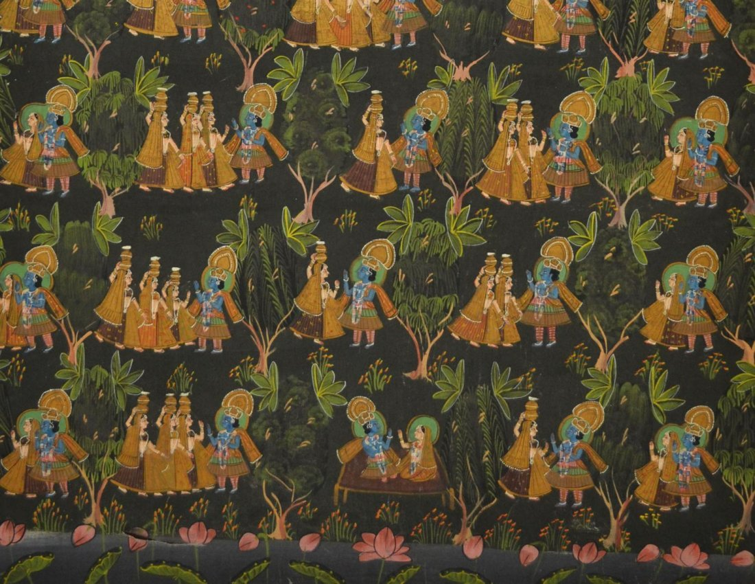 724: FRAMED PAINTING ON FABRIC, HINDU DEITIES, INDIA - 4