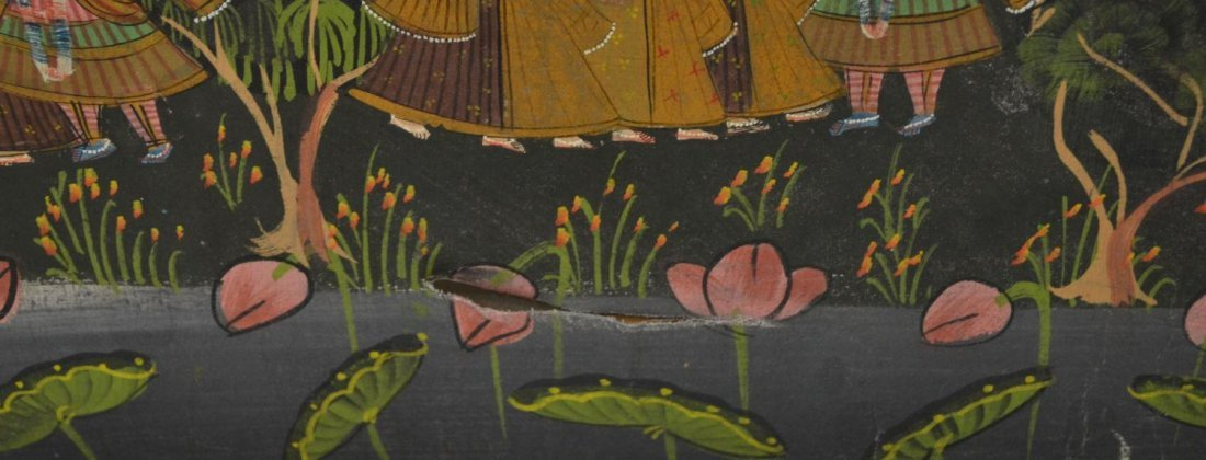 724: FRAMED PAINTING ON FABRIC, HINDU DEITIES, INDIA - 6
