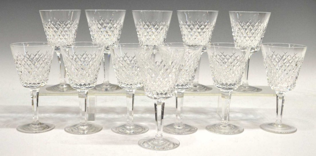 1: (12) WATERFORD 'ALANA' CUT CRYSTAL CLARET GOBLETS