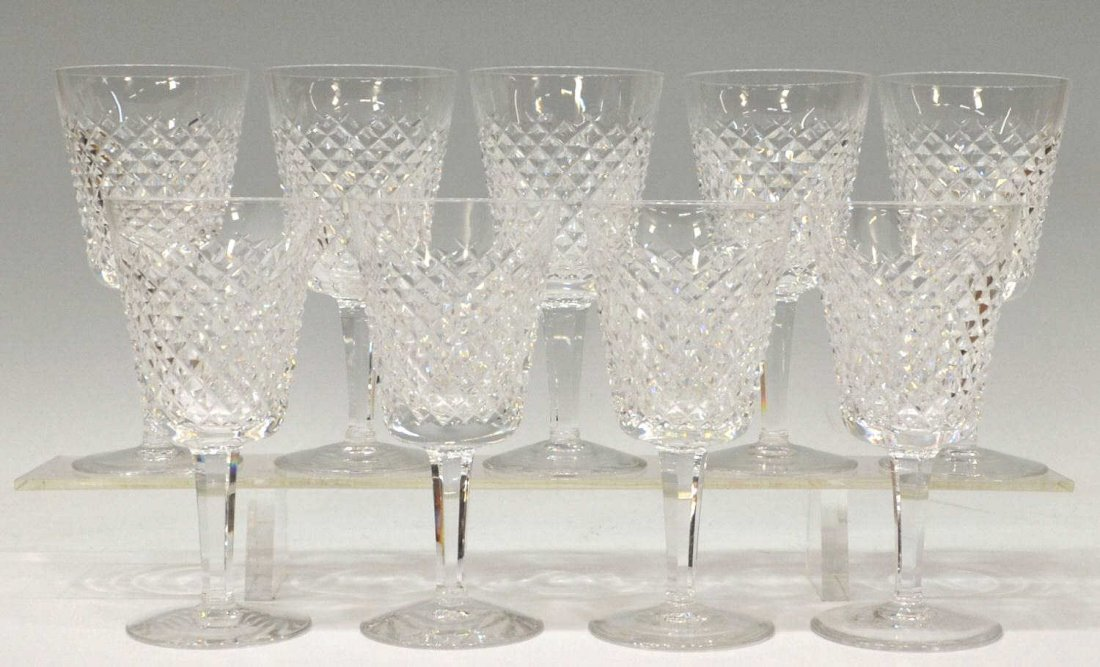 3: (9) WATERFORD CUT CRYSTAL 'ALANA' WATER GOBLETS