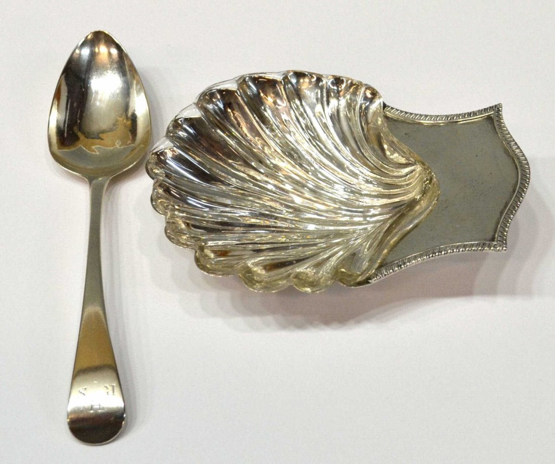 9: (2) GEORGE III STERLING SILVER SPOON & SHELL DISH