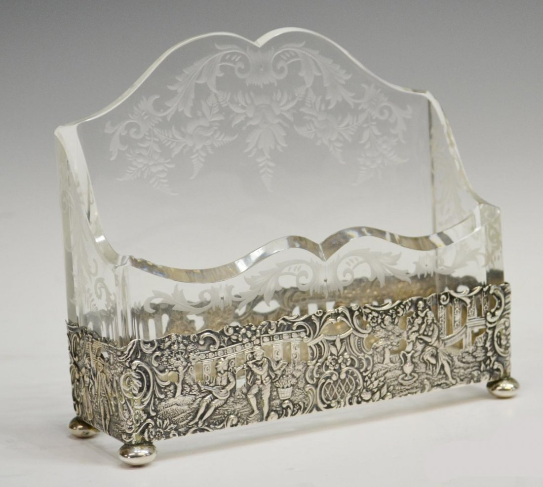 11: FINE GERMAN REPOUSSE SILVER & ETCHED GLASS HOLDER