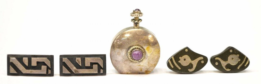 17: VINTAGE TAXCO SILVER CUFF LINKS & PERFUME, PINEDA