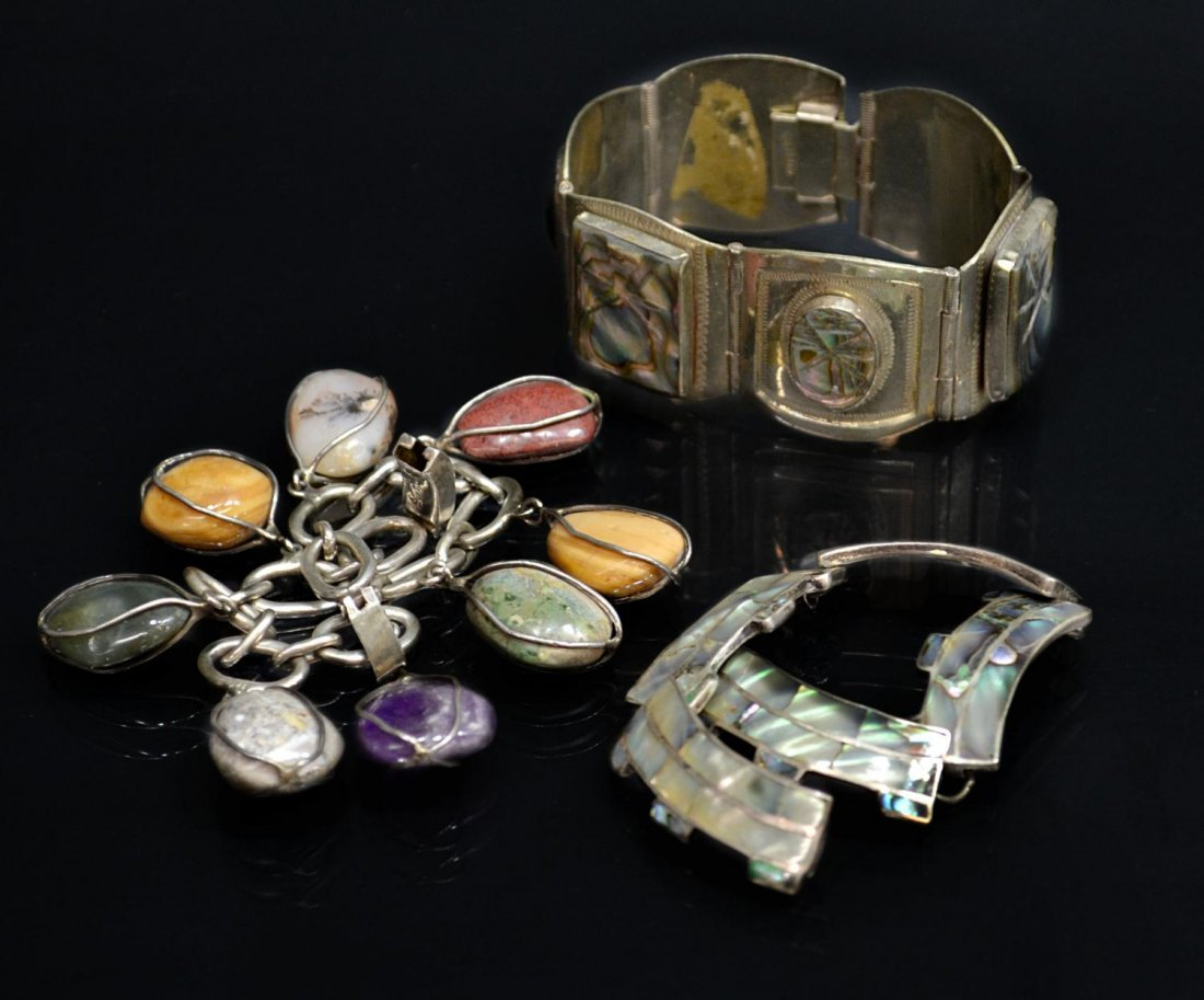 20: VINTAGE MEXICAN ABALONE,STERLING & STONE BRACELETS