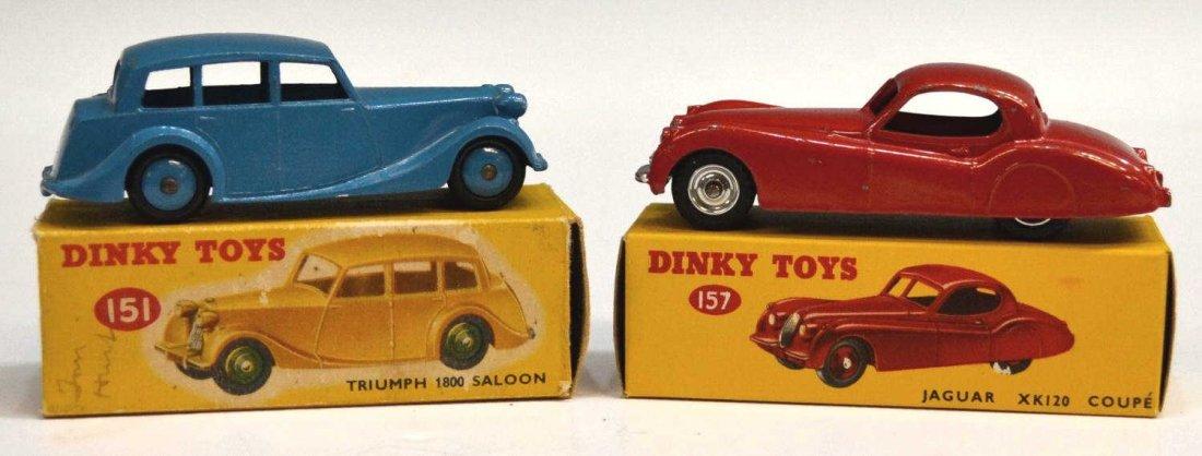24: (2) VINTAGE DINKY CARS, TRIUMPH 151 & JAGUAR 157