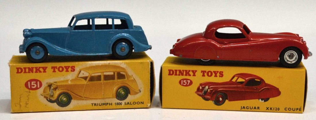 24: (2) VINTAGE DINKY CARS, TRIUMPH 151 & JAGUAR 157 - 2