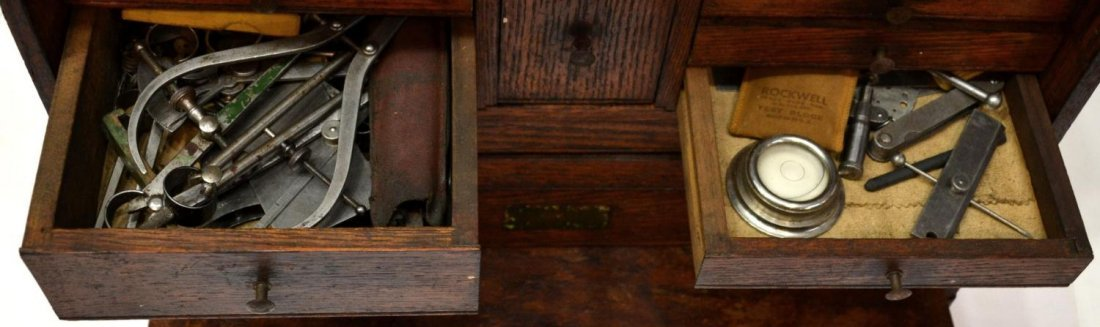 27: VINTAGE AMERICAN OAK TOOL CHEST & ACCESSORIES - 5