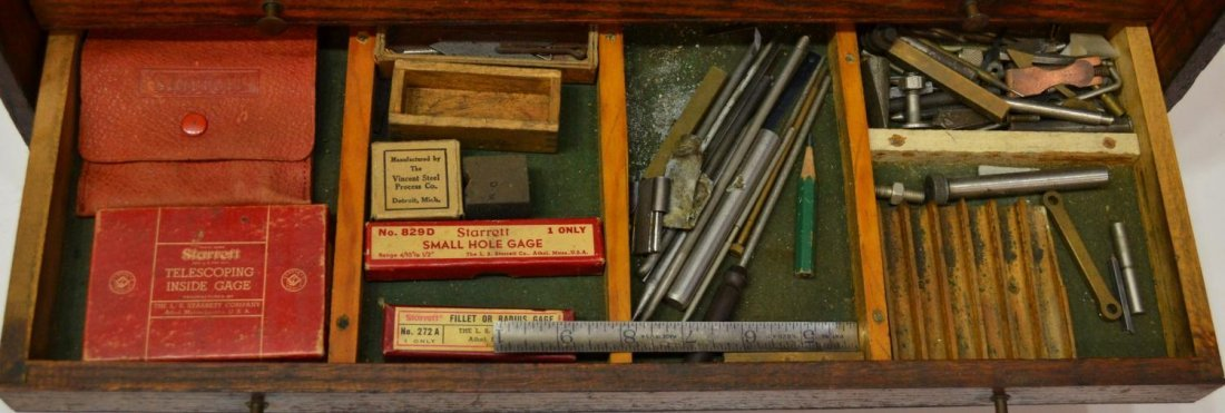 27: VINTAGE AMERICAN OAK TOOL CHEST & ACCESSORIES - 6