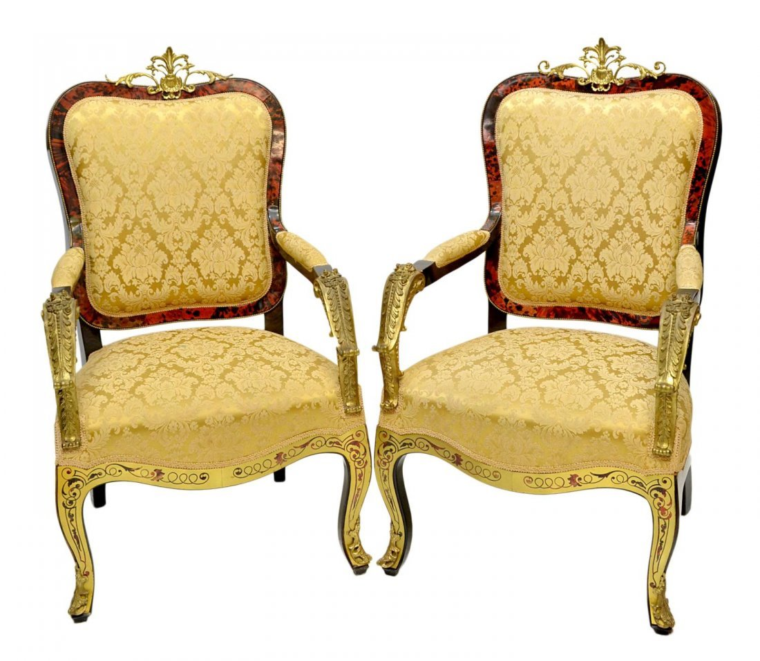 181: (PAIR)LOUIS XV BOULLE STYLE UPHOLSTERED ARM CHAIRS