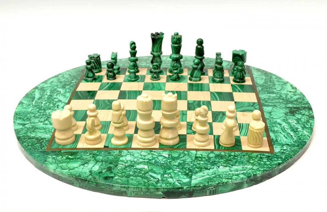 277: MALACHITE CHESS TABLE & PLAYING PIECES - 2