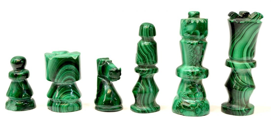 277: MALACHITE CHESS TABLE & PLAYING PIECES - 3