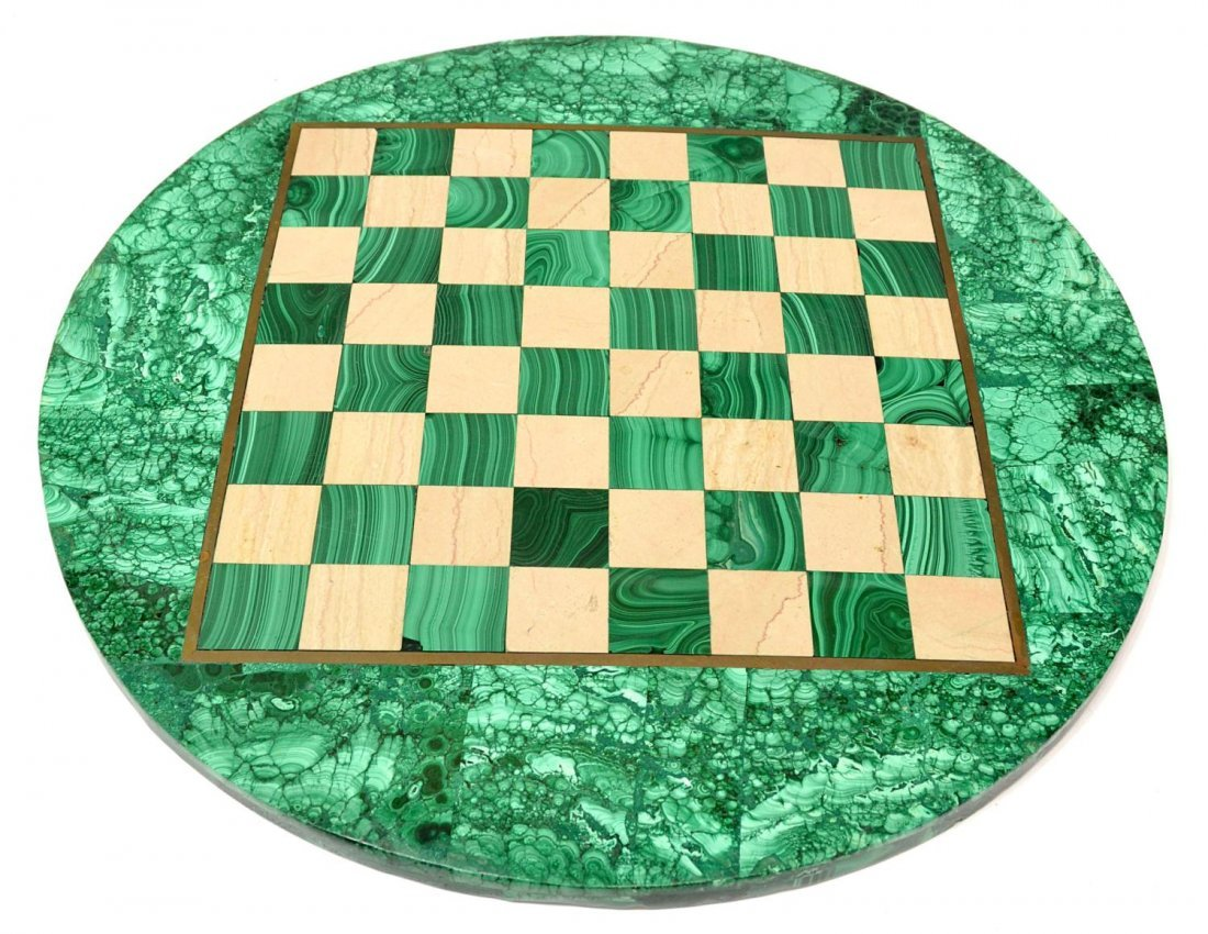 277: MALACHITE CHESS TABLE & PLAYING PIECES - 5