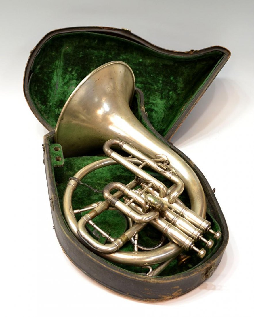 523: AMERICAN J.W. YORK & SONS ENGRAVED FRENCH HORN