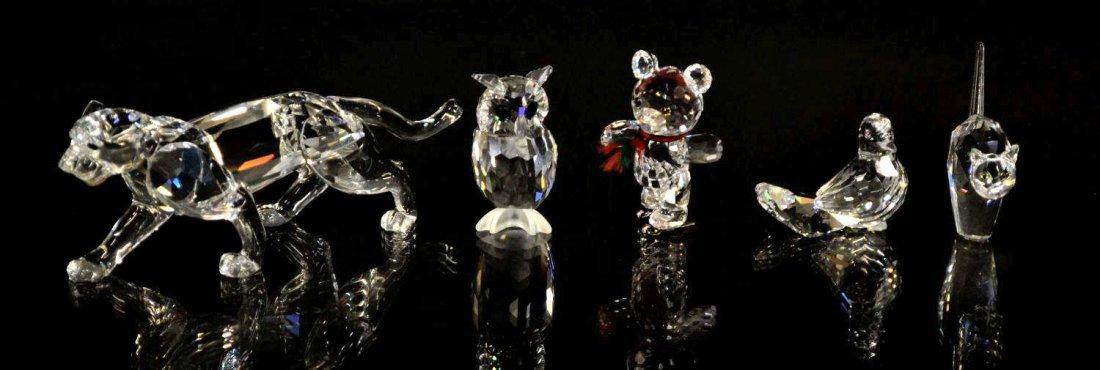 5: (5) SWAROVSKI CRYSTAL FIGURES, LEOPARD, OWL, BEAR