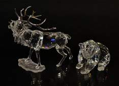 7 2 SWAROVSKI CRYSTAL STAG  GRIZZLY BEAR IN BOXES