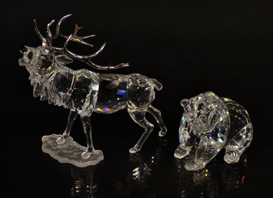 7: (2) SWAROVSKI CRYSTAL STAG & GRIZZLY BEAR IN BOXES