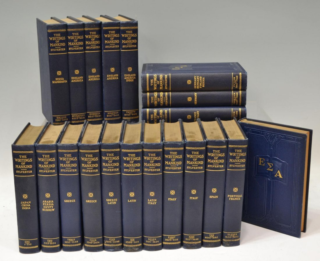 """22: (20) BOOKS: """"THE WRITINGS OF MANKIND"""", LEATHER"""