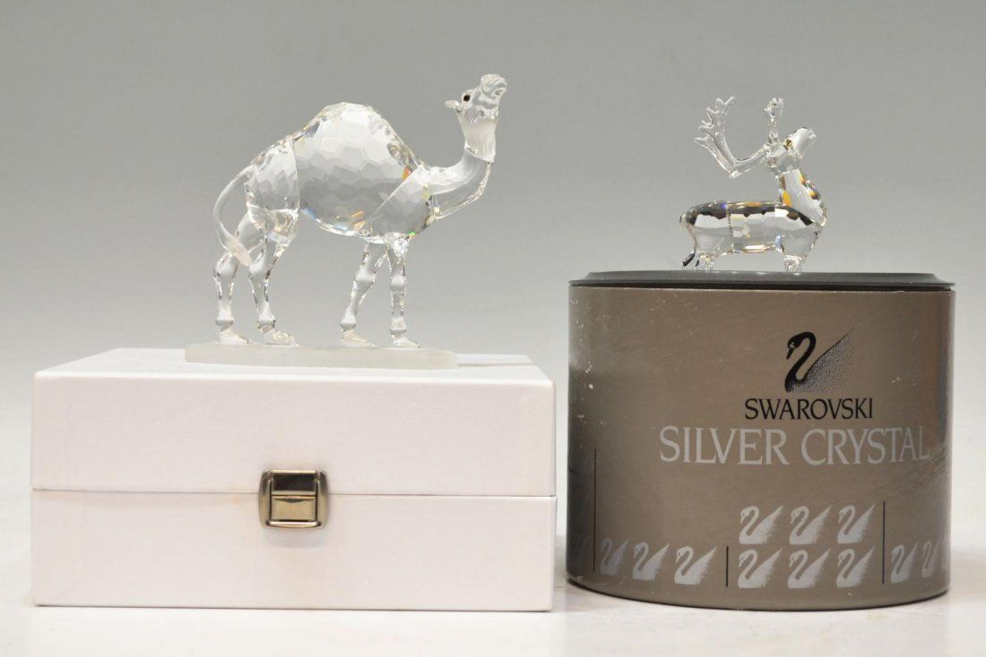 173: (2) SWAROVSKI CRYSTAL REINDEER AND CAMEL IN BOXES