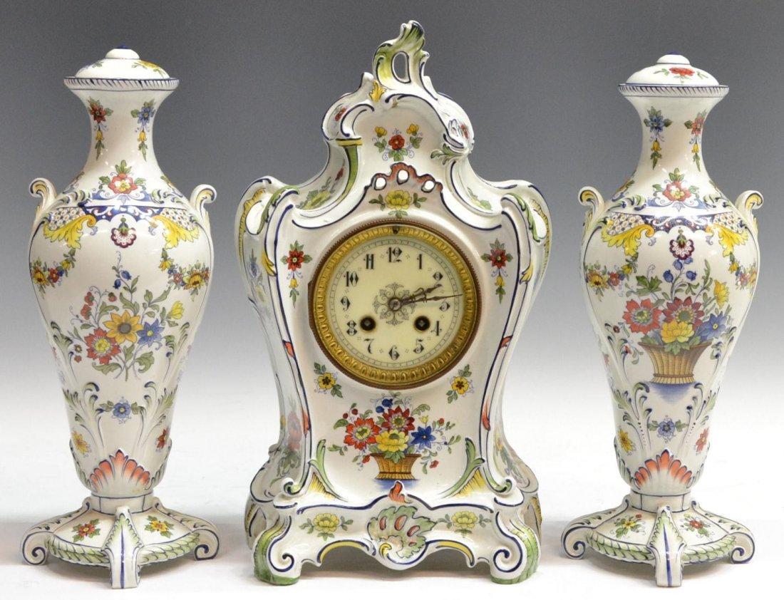 502: (3) ROYAL BONN JAPY FRERES GARNITURE CLOCK SET