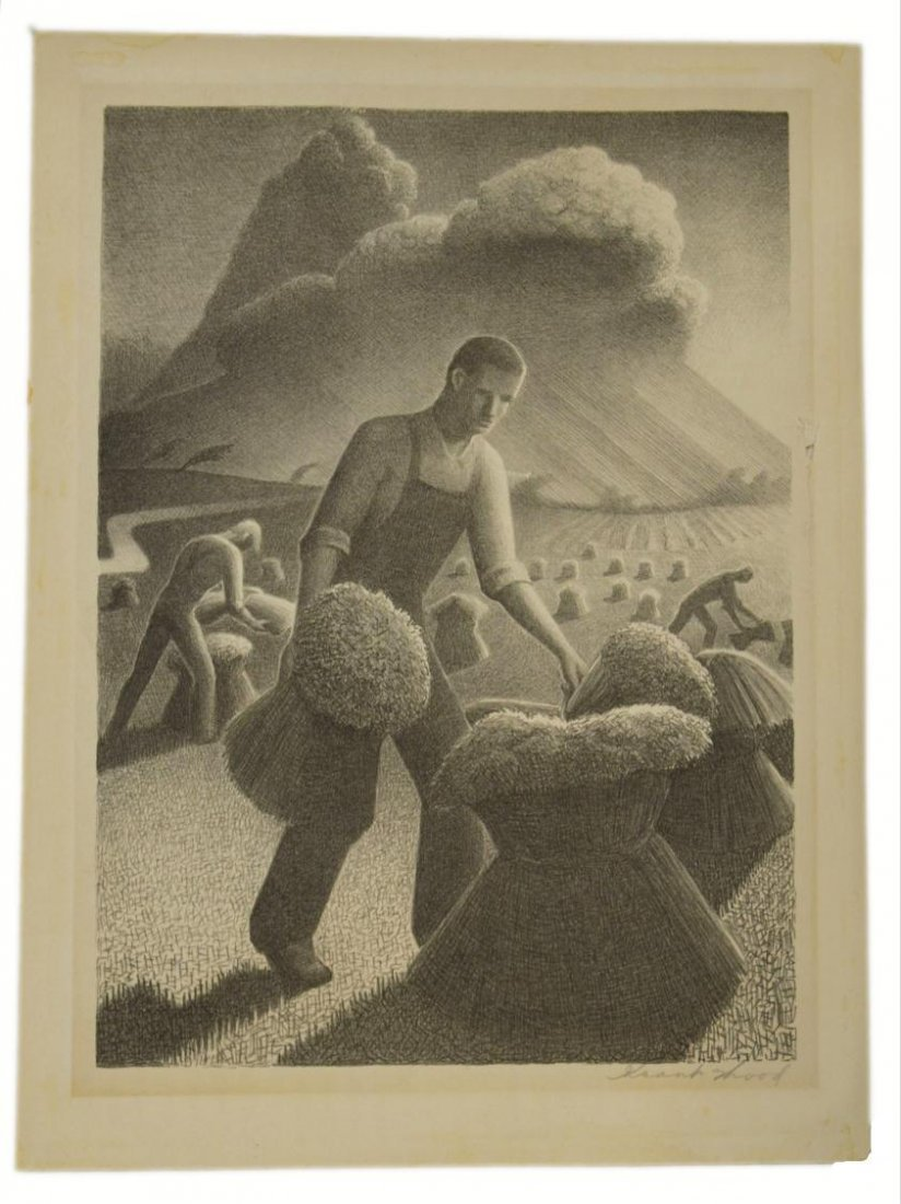 512: LITHOGRAPH, APPROACHING THE STORM, GRANT WOOD