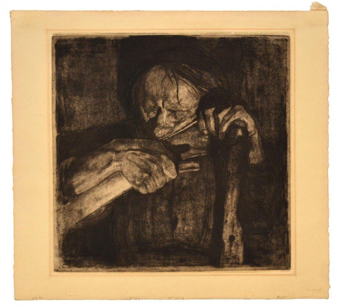 513: ETCHING, PEENING, 1921, ATTRIB KATHE KOLLWITZ