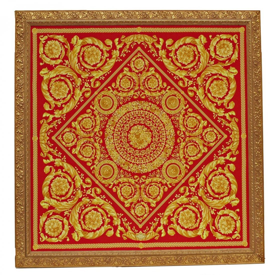 519: LARGE FRAMED VERSACE FABRIC WALL HANGING
