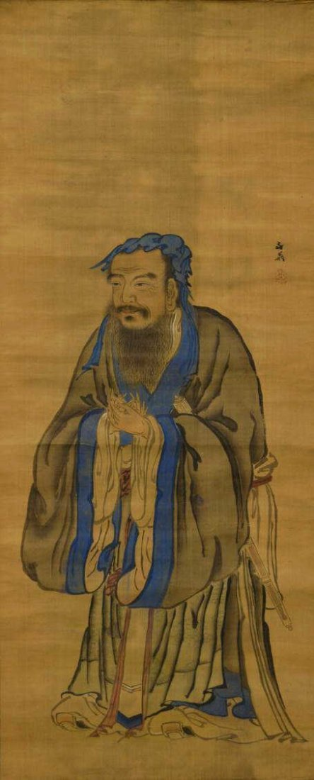 579: JAPANESE INK & COLOR ON SILK PAINTING,CHINESE SAGE