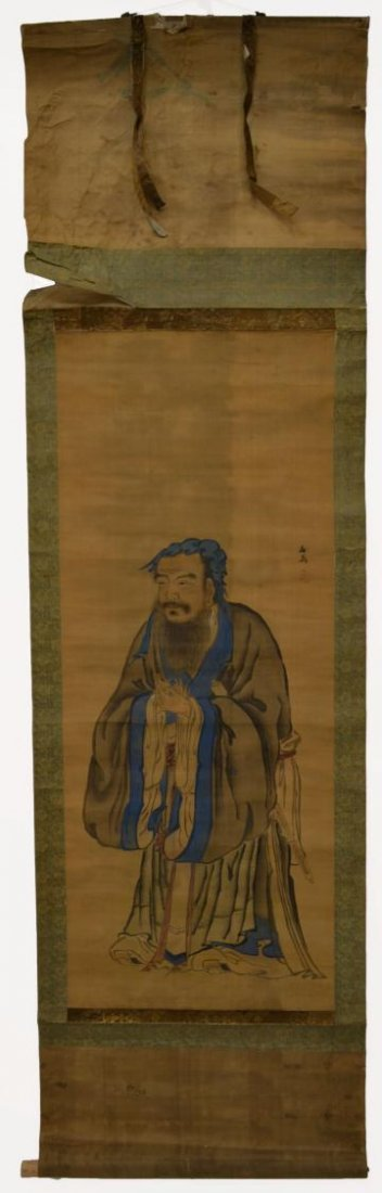 579: JAPANESE INK & COLOR ON SILK PAINTING,CHINESE SAGE - 2